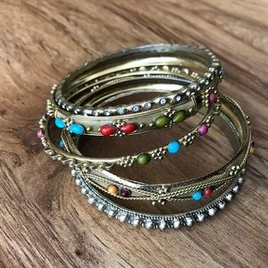 Gold stackable band bracelets